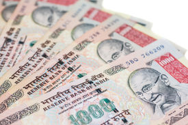foto of gandhi  - A fan of one thousand rupee notes  - JPG