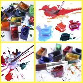 Collage of watercolor paints