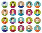 Set of People Flat icons. Communication. Business.