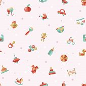 Illustration of flat design cute baby pattern with icons