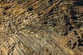 Natural background of hexagonal basalt columns in Icelandic national park Jokulsargljufur