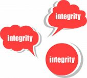 Integrity. Set Of Stickers, Labels, Tags. Business Banners, Template For Infographics