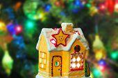 Lighting house - christmas tree on background