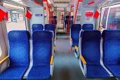 Interior of train - transportation travel background