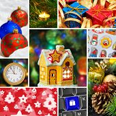 Collage of christmas images (my photos) - holiday background