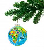Globe and christmas tree isolated on white background