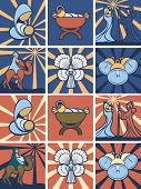 stock photo of magi  - nativity scene set icon in flat style color - JPG