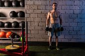 gym man holding hex dumbbells with muscle torso
