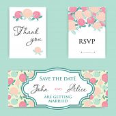 Invitation, Save the Date, Thank you, RSVP. Wedding Cards  Set.