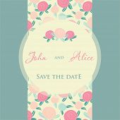 Wedding invitation card design with rose flowers and floral elements.