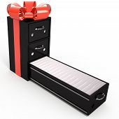 Business Conception. Filing Cabinet Is A Gift Box, 3D