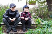 Children Brothers Country Fall Happy Smile