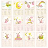 Baby Bunny Calendar 2015 - week starts with Sunday - in vector
