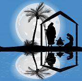 silhouette of the nativity scene