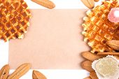 Background Biscuits, Waffles, Fruit Jelly Isolated On White Background With Space For Text On The En