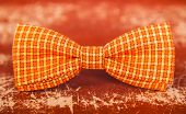 Orange Bow Tie With White Stripes