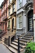 stock photo of brownstone  - New York City United States  - JPG