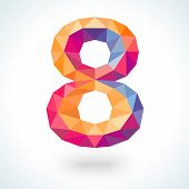 Number eight in modern polygonal crystal style. Vector