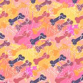 Abstract Dog with bone.Seamless pattern