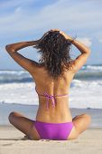 Rear view of sexy young brunette woman or girl wearing a bikini sitting on a deserted tropical beach with a blue sky