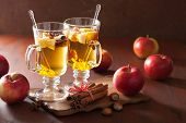image of cider apples  - glass of mulled apple cider with  orange and spices - JPG