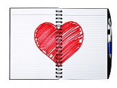 notepad book with painting heart