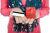 Asian Girl With Winter Dress,credit Card And Gift Box