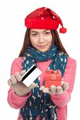 Asian Girl With Red Christmas Hat,credit Card And Gift Box