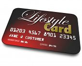 Lifestyle Card on red credit card for shopping and payment for goods and services