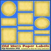 A Set of Old Worn Paper Labels - Illustrations not scans - Isolated on blue for easy selection