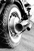 stock photo of exhaust pipes  - Close up shot of motorcycle exhaust pipes - JPG
