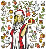 Vector Card with Woman, and Christmas, and New Year elements