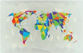 World map in polygonal style. Color on white. political map