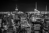 stock photo of empire state building  - New York City Skyline With Empire State Building At Night