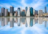 Reflection of Lower Manhattan on clear day