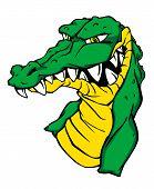 Angry green crocodile