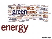 Vector eps concept or conceptual abstract green energy and ecology and conservation word cloud text on white background