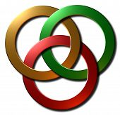 Celtic knot (gold red & green)