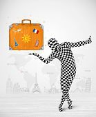 Funny man in full body suit presenting vacation suitcase, tourist attractions in background