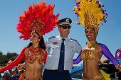 Lucky cop meets sexy Brazilian dancers