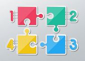 stock photo of staples  - set of blank colorful paper puzzles stapled with 1 - JPG