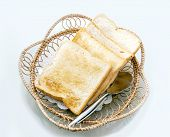 Toat Slide Whole Weet Bread On Rattan Basket