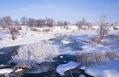 picture of paysage  - Winter snowy landscape with frozen river - JPG