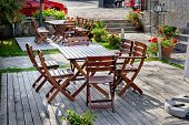 Empty outdoor cafe table