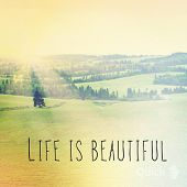Inspirational Typographic Quote - Life is Beautiful