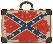 foto of confederation  - Confederate Rebel flag Grunge on an old suitcase - JPG