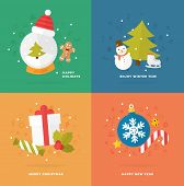 Set of Christmas Icons. Flat Style. Xmas Tree, Snow Globe and Snowman, Gift Box and Candy Cane, Gingerbread Man and other Winter Holidays Vector Elements.