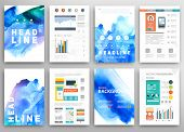 Set of Vector Poster Templates with Watercolor Paint Splash. Abstract Background for Business Documents, Flyers, Posters and Placards.