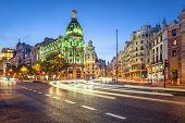 Madrid, Spain cityscape on Gran Via at twilight.