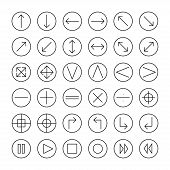 Vector thin icons set for web and mobile. Line simple arrows. Design elements. Illustration in flat